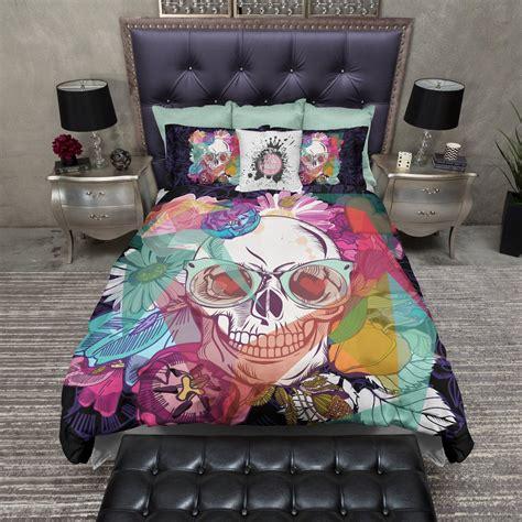hipster bed sets bright flower hipster skull duvet bedding sets ink and rags