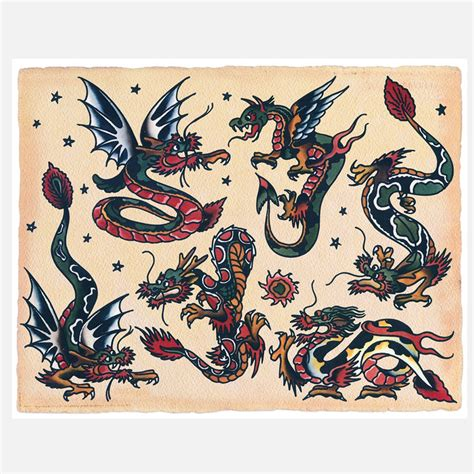 sailor jerry home decor dragons tattoos traditional sailor jerry