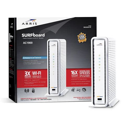 arris surfboard wireless docsis  cable modem  wi fi router sbg ac   home depot
