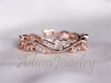 fancy solid  rose gold wedding band full eternity women