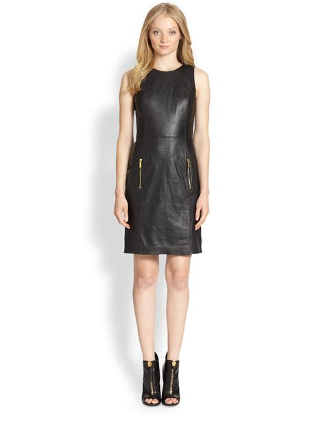 michael kors knit dress michael michael kors leather ponte knit dress in black lyst
