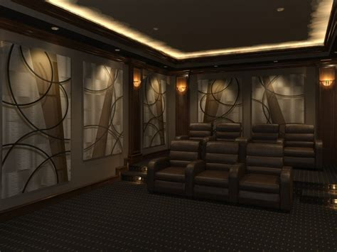 home theater design featuring quot angled quot decorative