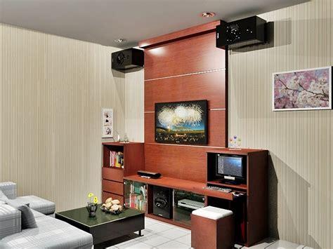design interior meja tv rak tv dengan background dian interior design