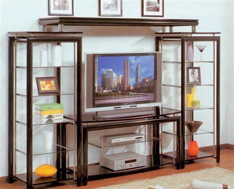 entertainment shelving units eclipse entertainment unit in black chrome w glass shelves