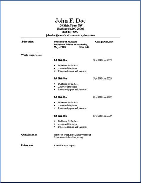 free simple templates simple resume template http www resumecareer