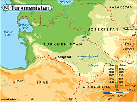 physical map of turkmenistan turkmenistan physical map by maps from maps