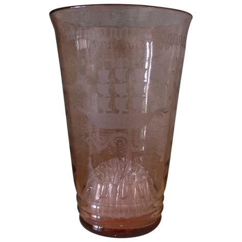 Engraved Glass Vase by Pink 1920s Glass Vase With Etched Engraved Ships