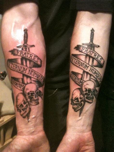military skull tattoo on lower arm real photo pictures