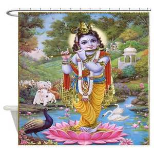 Krishna Lotus Krishna On Lotus Flower Shower Curtain By Ethnocentric