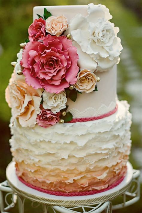wedding cake of the day pink ombr flower wedding cake amazing wedding cake pictures weddings by lilly