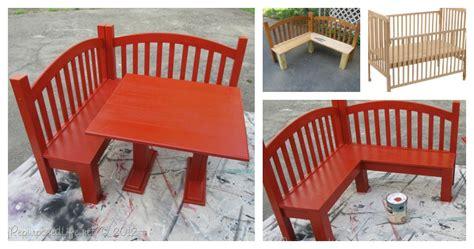 set up bench diy kids corner bench and table set upcycled crib idea