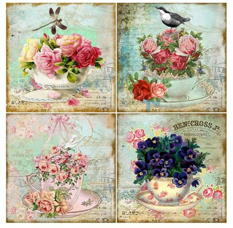 printable krus cards vintage inspired tea cup cards altered art set of 8