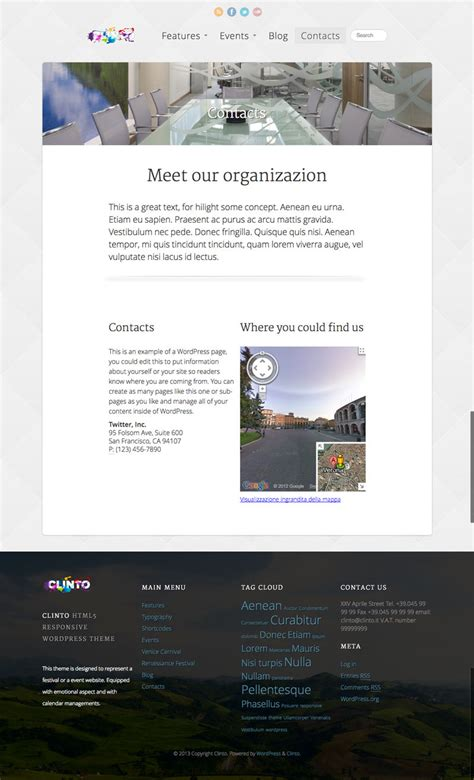 clinto html5 responsive wordpress theme for events by