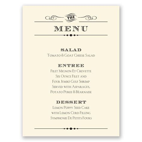 menu cards wedding reception templates vintage type menu card invitations by