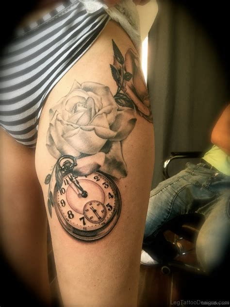 clock and rose tattoos 50 fantastic clock tattoos on thigh