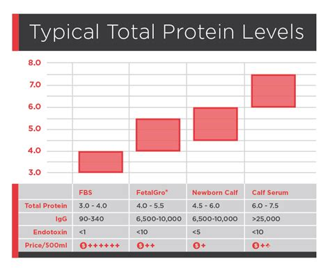 protein levels comparison of fbs and other bovine serums