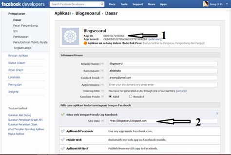 membuat facebook id cara membuat id aplikasi facebook blog seo arul