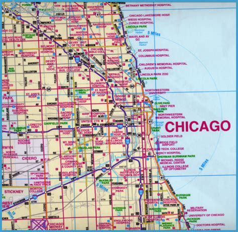 map of chicago chicago map travelsfinders