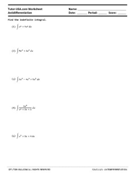 Definite Integral Worksheet by Worksheet Antidifferentiation Indefinite Integrals