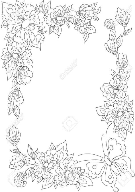rose coloring pages border 94 butterfly coloring page with flower border butterfly