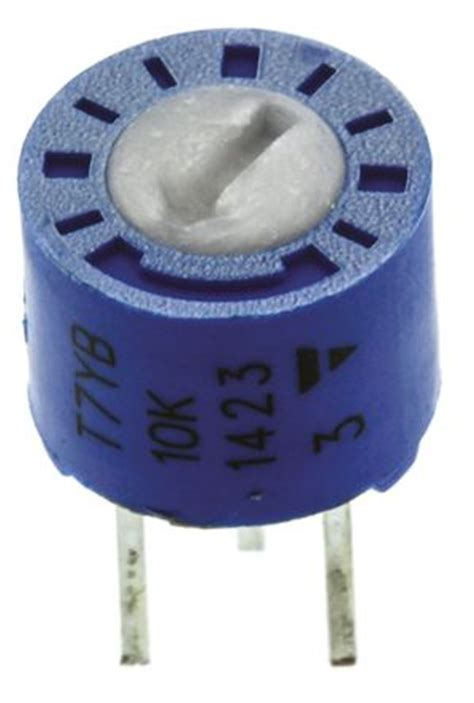 vishay trimmer resistor t7yb103mt20 vishay t7yb series through cermet trimmer resistor with pin terminations
