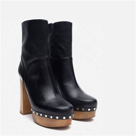black high heel boots leather zara high heel leather ankle boots with studs in black lyst