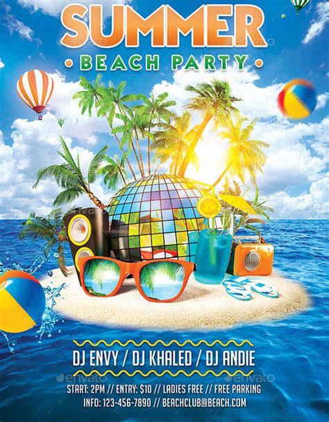 download easy to use free summer flyer templates for photoshop
