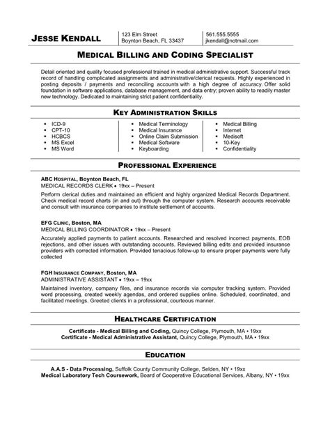 billing and coding specialist resume exle
