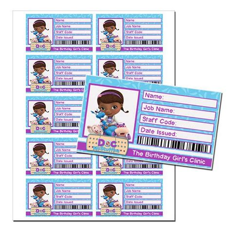 id card template doc instant doc mcstuffins birthday id badge by