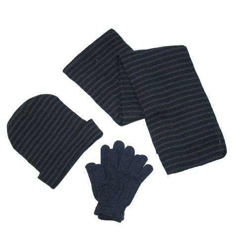 mens knit striped hat gloves and scarf winter set by ctm