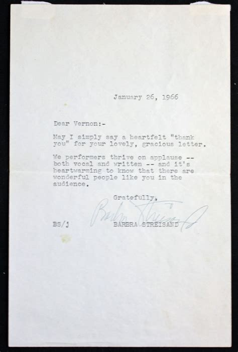 Letter Closing Gratefully Yours Lot Detail Vintage Barbra Streisand Signed Letter Psa Dna