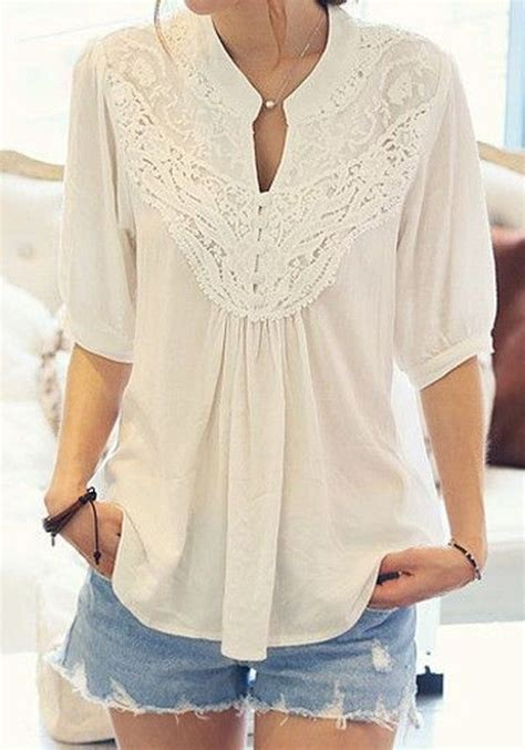 Plain Sleeve Chiffon Top white plain lace pleated band collar sleeve chiffon