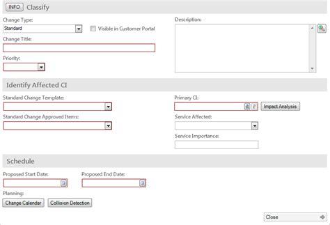 standard change template log a standard change detailed