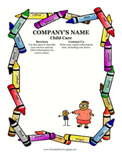 free child care flyer templates sle flyer for child care