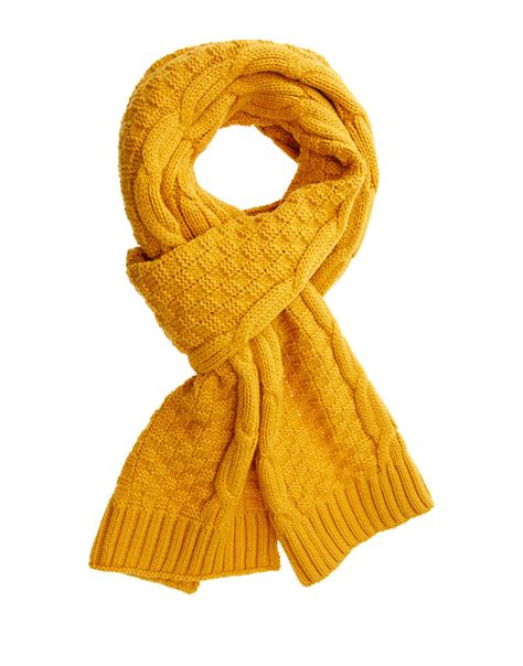 cable knit scarves lyst asos asos cable knit scarf in yellow for