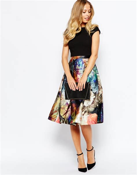 Skirted Dresses by Ted Baker Eana Technicolour Bloom Skirt Dress In Black Lyst