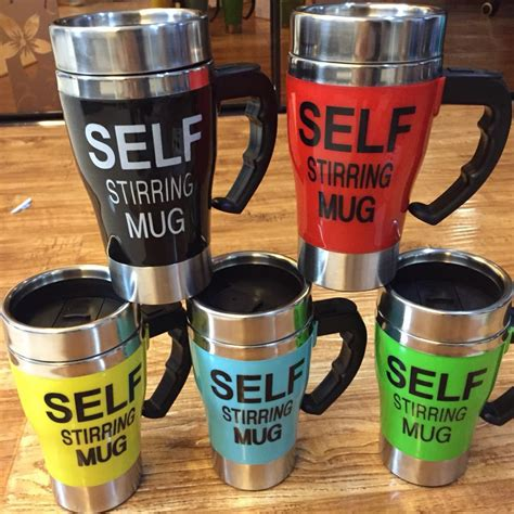 Automatic Self Stirring Mug Steering Coffee Cup Gelas A Terjamin self stirring 350 ml automatic electric coffee cup smart stainless steel mugs