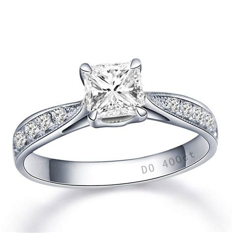 certified princess engagement ring in white