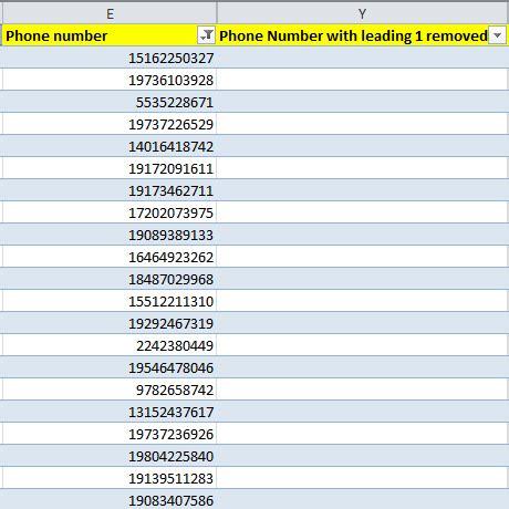 vba excel formula for removing leading 1 on phone number