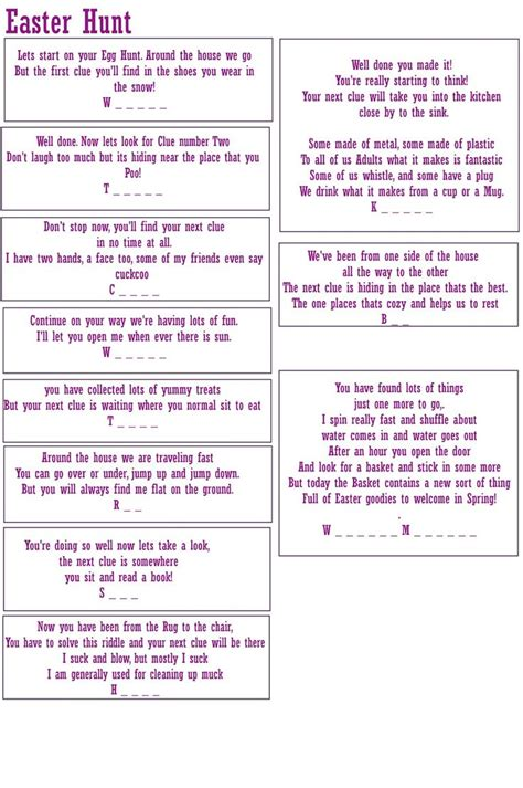 printable easter jokes free fun quick and easy easter treasure hunt activity for