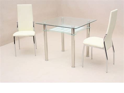 square glass top table with silver steel legs combined