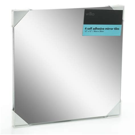 bathroom mirror adhesive wilko mirror tiles self adhesive 30cmx30cm x 4 home