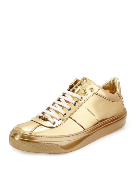 jimmy choo sneakers mens jimmy choo portman mirrored low top sneakers in metallic