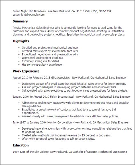 Resume Sles For Mechanical Professional Mechanical Sales Engineer Templates To Showcase Your Talent Myperfectresume