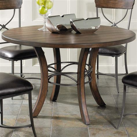 wood metal dining table wood dining table with metal acent base by hillsdale