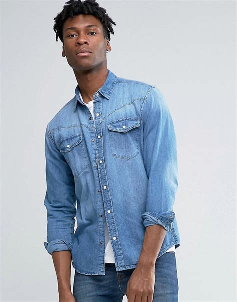 pull and pull and denim shirt with western pull western denim shirt in mid wash blue in regular