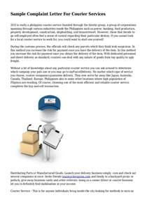 Courier Business Plan Template by Sle Complaint Letter For Courier Services
