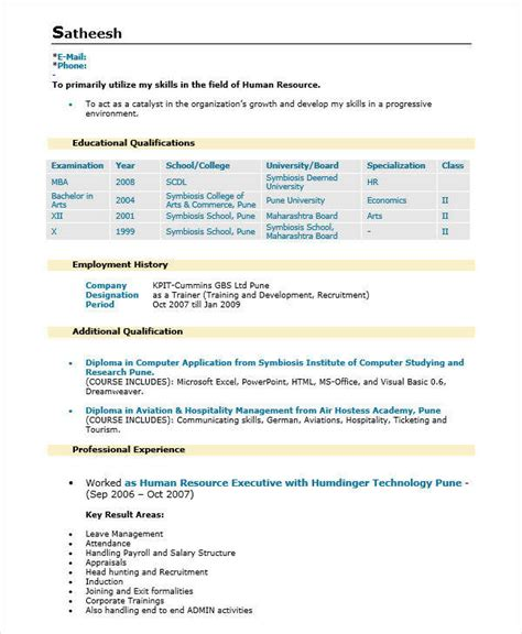 sle cv for hr officer sle hr executive resume 28 images hr manager sle
