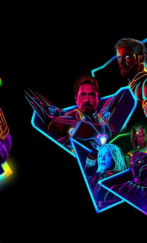 avengers infinity war neon style art full hd wallpaper