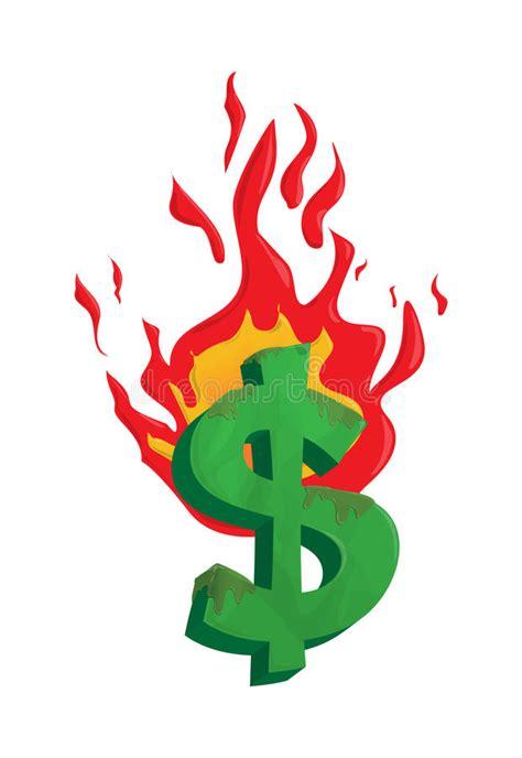 eps format edit burning dollar money illustration stock vector